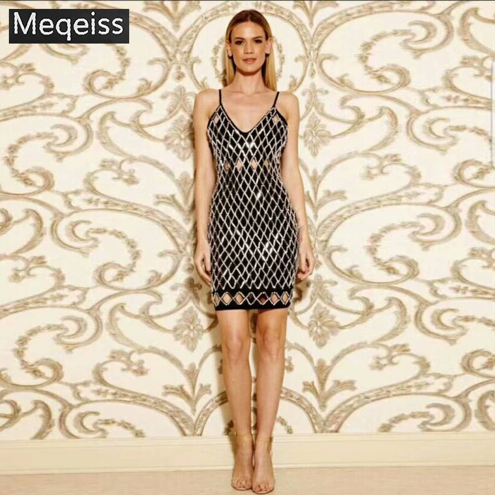 MEQEISS модное Золотое Платье с бусинами сексуальное с открытыми плечами с открытой спиной оптовая продажа знаменитостей вечерние Клубные зак
