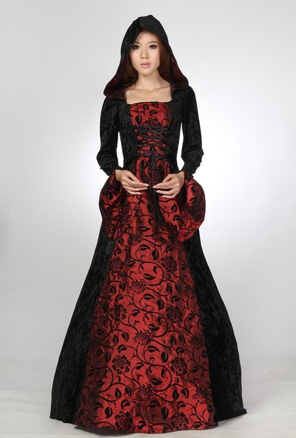 Medieval Renaissance Velvet Evening Dress Hooded Ball Gown Prom-in ...