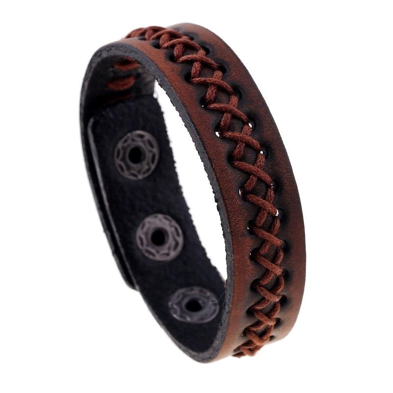 dankaishi Personality Punk Braided Cow Leather Men Simple Style Genuine Leather Jewelry Charm Wrap Bracelets For Men Women