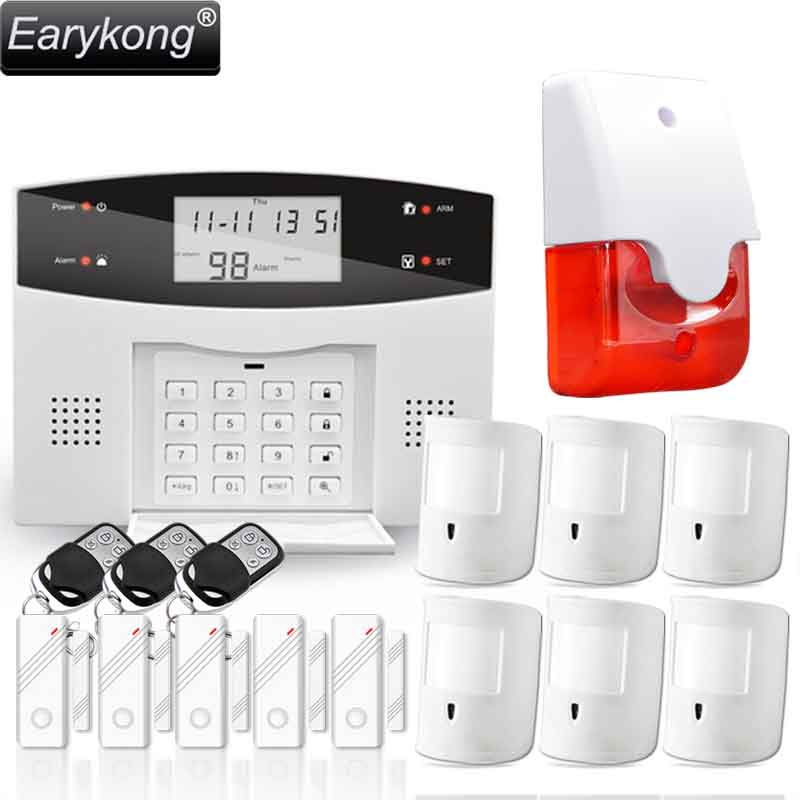 Free Shipping Home Burglar Security PSTN & GSM Alarm System 850/900/1800/1900 Wireless Signaling English/Russian/Spanish/French 850 900 1800 1900mhz russian english spanishwired and wireless lcd home security gsm alarm system