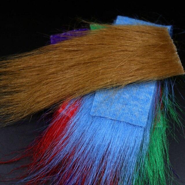 Wifreo 12 paquets mélange couleur longue Fiber mouche attachant artisanat fourrure Streamer appât poisson mouche attachant matériel Furable doux fibres synthétiques