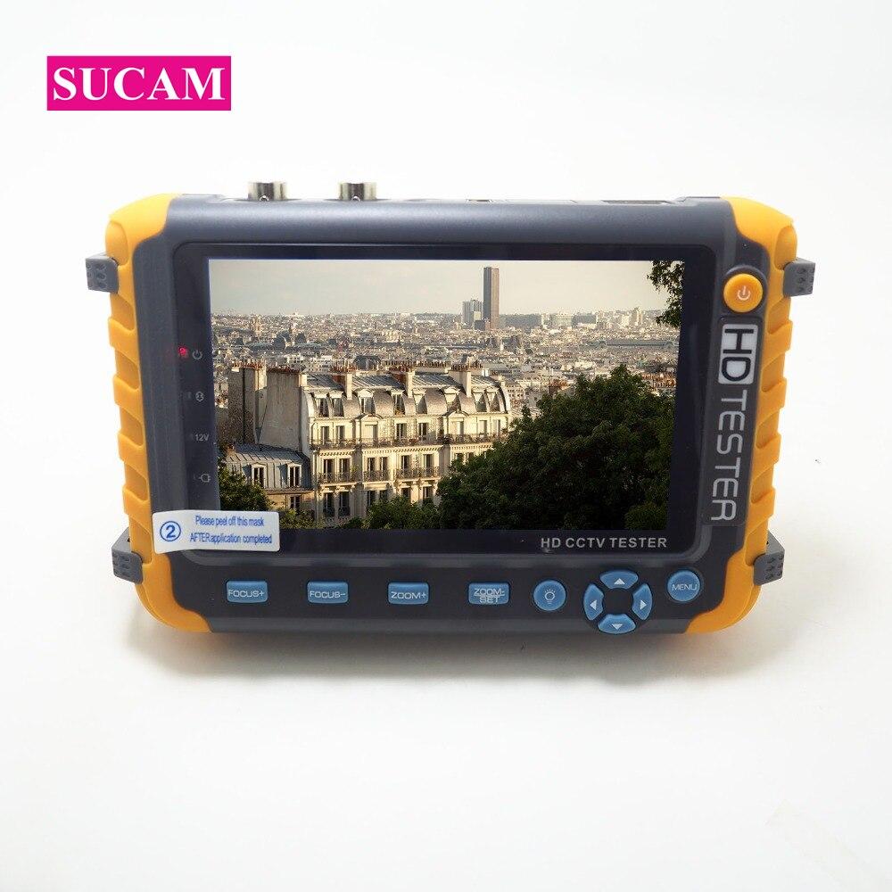 SUCAM 5MP 4 DANS 1 AHD CCTV Caméra Testeur 5 Pouce LCD écran Moniteur pour AHD CVI, TVI CVBS Caméra De Test Audio Vidéo Test