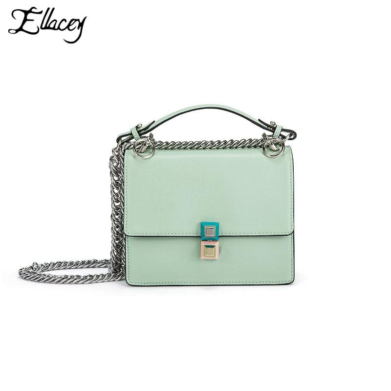 2017 Spring Summer Women Genuine Leather Lock Square Flap Bags Fashion Mini Crossbody Bags Ladies Small