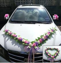Свадебное Оформление автомобиля цветок аксессуары набор руля Цветок Корейский свадебный автомобиль украшение головы цветок лента