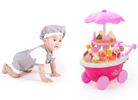 Play House Game Kitchen Toys electronic Candy Ice Cream lollipop retail Stroller car with light music toy baby girl best gift