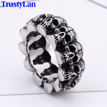 Hiphop Rock Skull Ring Men Gothic Biker Jewelry Stainless Steel Unique Mens Rings Heavy Metal Man Ring Gifts For Him TrustyLan(China)
