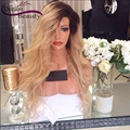 Blonde Ombre Human Hair Wigs 150% Density Full Lace Wigs With Baby Hair Side Part Front Lace Wigs T1b/613 Two Tone Ombre Wigs