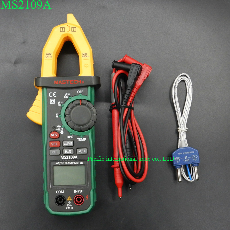 ФОТО Digital Clamp Meter  MASTECH MS2109A Auto range Multimeter AC 600A Current Voltage Frequency clamp MultiMeter Tester Backlight