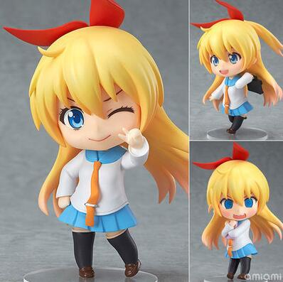 10cm Cute Nendoroid Nisekoi Chitoge Kirisaki Anime Action Figure PVC Collection Model toy juguetes brinquedos for christmas gift free shipping cute 4 nendoroid monokuma super dangan ronpa anime pvc acton figure model collection toy 313 mnfg057