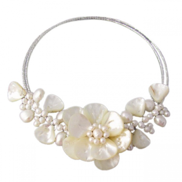 2017 Direct Selling Special Offer Women Pearl Necklaces & Pendants Maxi Necklace Collier Sakura Flower Mop Choker Wrap Necklace stylish faux pearl bow flower lace choker necklace