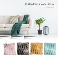 Nordic Style Knitted Thick Back Pillow Hand woven Square Cotton Cushion for Living Room Decorative Pillow Home Textile 20E