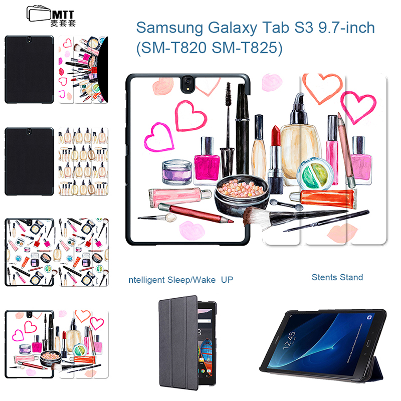 For Samsung Tab S3 Case T820 Watercolor Makeup Painted PU Leather Cover Case for Samsung Galaxy Tab S3 9.7 inch T825 T825 Tablet планшеты samsung tab