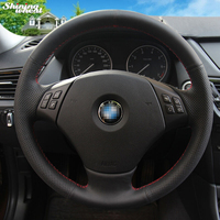 BANNIS Black Genuine Leather Car Steering Wheel Cover for BMW E90 320 318i 320i 325i 330i 320d X1