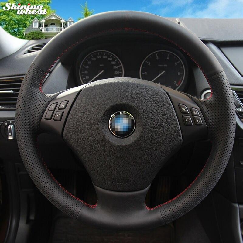 Brillant blé Noir En Cuir Véritable Couverture De Volant de Voiture pour BMW E90 320 318i 320i 325i 330i 320d X1