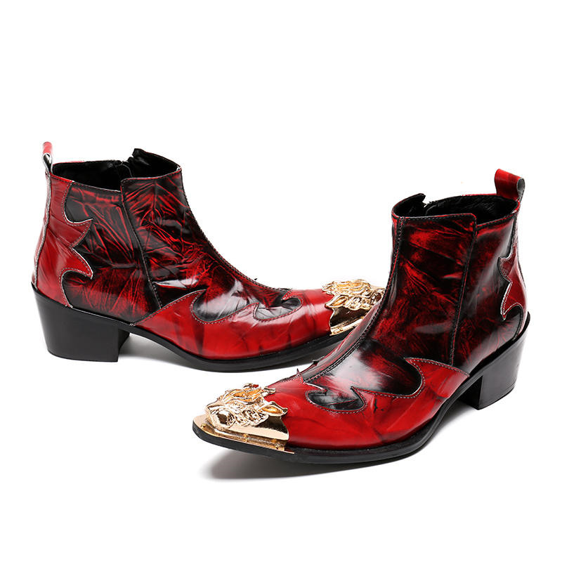 548ae95cef Metal Botas Calzado Hombres Auténtico Alta Botines Calidad Punta Invierno  rojo Mabaiwan Rojo Cuero Militar Negro Zapatos Hombre x6qw7n6Yp