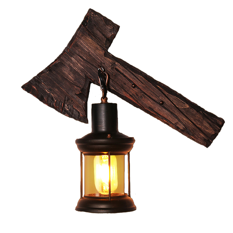 American style retro industrial wind LOFT creative personality boat wooden coffee cafe net bar solid wood art wall lamp