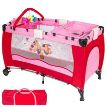 Cartoon Baby Cribs Bed Diaper Changing Stations Portable Foldable Playpen Crib Child Alloy Double Folding Cot Baby Furniture(China)