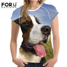 FORUDESIGNS Bernese Mountain Dog T Shirt Women Funny Tshirts Ladies Fashion Short Sleeve Tops Vintage Couple Tees Kawaii Clothes