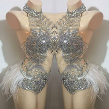 Party Stage Wear Dress Crystals Shining Sexy Bodysuit Outfit Female Singer Dj Ds Modern One Piece Rhinestone Tassel Dresses