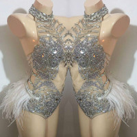 Party Stage Wear Dress Crystals Shining Sexy Bodysuit Outfit Female Singer Dj Ds Modern One Piece Sexy Rhinestone Tassel Dresses