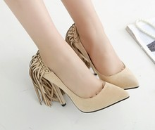 2016 New Fashion Sexy Tassel Women Wedding Shoes Platform Pumps Suede Pointed High Heels