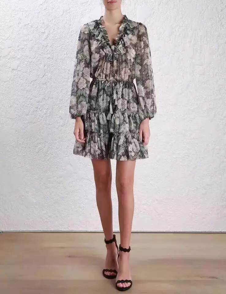 Women Bowerbird Floral Frill Dress Long Sleeve Ruffles Polka Dot Pattern V