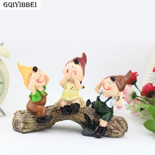 GQIYIBBEI Lovely Three kids On Stump Cartoon Figurine Decoration Accessory Manual Drawing Crafts Home Decor Children Gift Model
