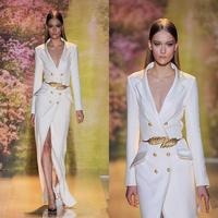Top Selling Zuhair Murad 2015 Spring Newest White Celebrity Dress Elegant Long Sleeve Cheap Formal Evening