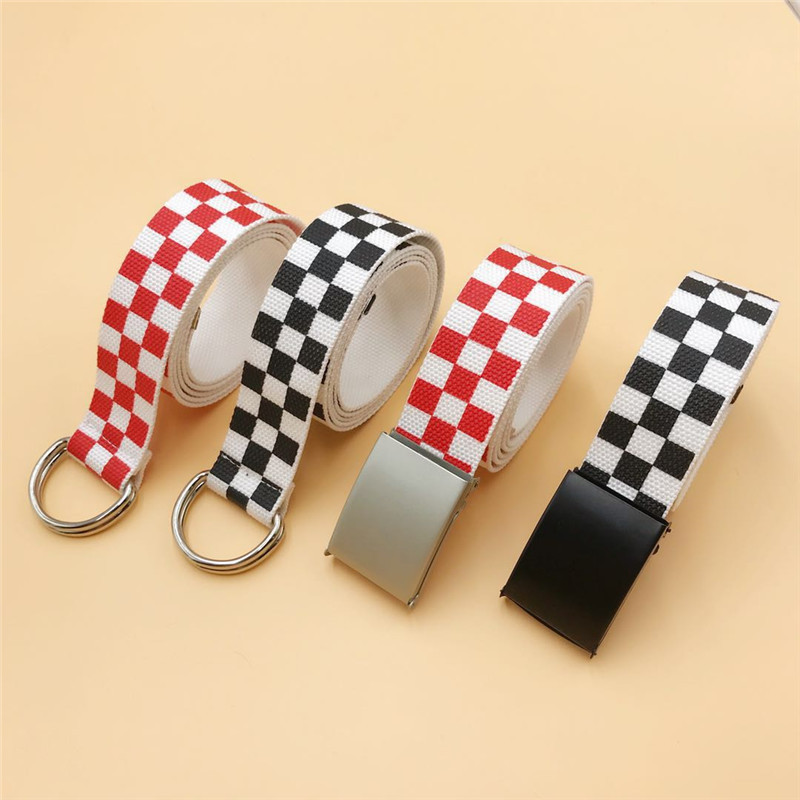 Canvas Checkerboard Belts Waist Belts For Men And Women Casual Checkered Waistband Black White Plaid Belt For Male And Female