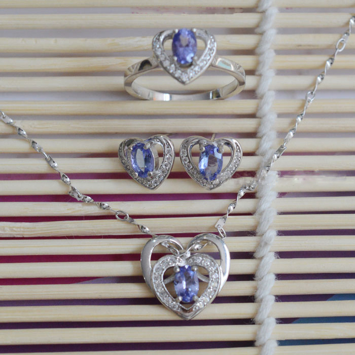 2017 New Arrival Qi Xuan_Fashion Jewelry_Blue Stone Hearts Jewelry Sets_S925 Solid Silver Jewelry Sets_Factory Directly Sales
