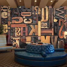 European Retro Wall Mural Photo Wallpaper 3D Stereoscopic Wood Alphabet Wallpaper For Walls Customized Cafe Bar Wall Mural Paper(China)