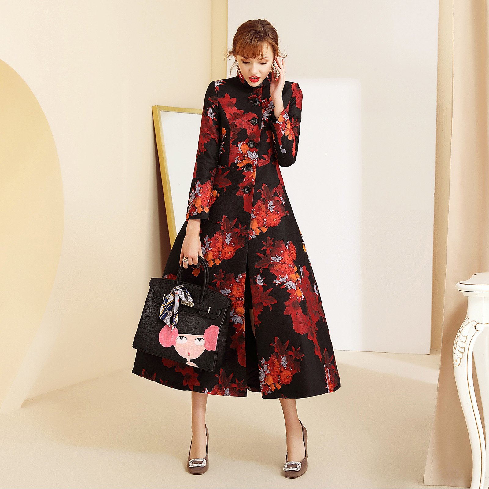2019 spring autumn woman clothes long trench coat jacquard stand collar office lady plus size trench coat m103