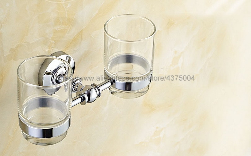 Luxury High Quality Bathroom Polished Chrome Toothbrush Holder + Two Glasses Wall Mounted Nba807 image