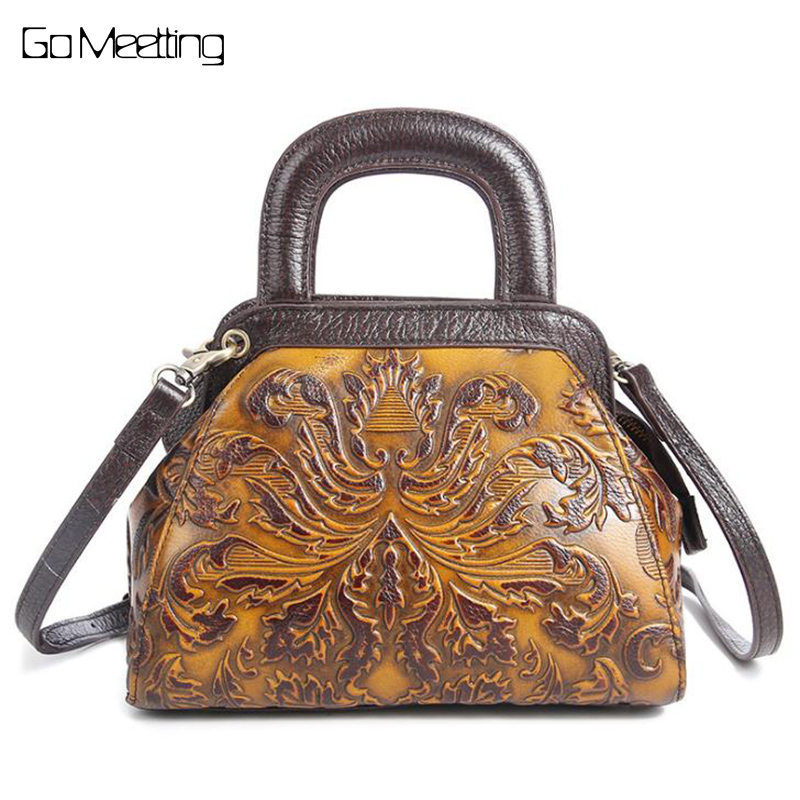 Go Meetting Women Handbag Genuine Leather Embossed flowers Female Shoulder Bags Vintage Ladies cross body Messenger Bag New 2016 genuine leather women s patchwork shoulder bag embossed cowhide handbags women messenger bag vintage cross body bags ws41