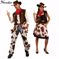 Adult Western Cowgirl Cowboy Costume Dress With Hat Carnival Halloween Party Sexy Outfit Cosplay Costumes For