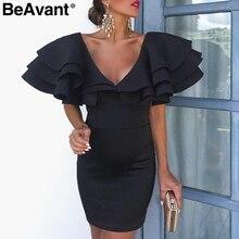 BeAvant V-neck elegant ruffle short party dress women Sexy night club bodycon dress female 2019 Summer high waist ladies dresses