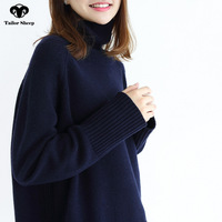 2019 winter thick pullover wool sweater women turtleneck long sleeve knitted jumpers female loose sweater