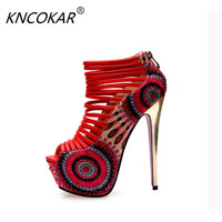 KNCOKAR 2018 sexy high heeled shoes 16cm open toe sandals female 14cm ultra thin heels high heels platform shoes women's
