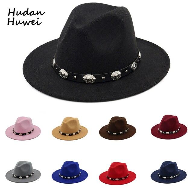 3354ce32b021d British Style Wool Jazz Cap Hat for Women Vintage Utumn Winter Ladies  Fedora Hats with Metal