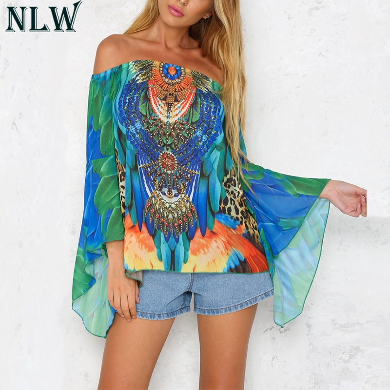 NLW Boho Print Off Shoulder   Blouse     Shirt   Flare Long Sleeve Summer   Blouse   Top Women Casual Cool   Blouse   Beach Party Chic Shift