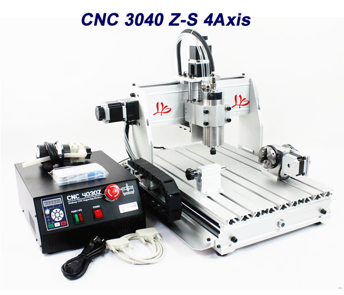 3040Z-S 4 Axis cnc milling machine with 800W VFD water cooled spindle for 3D printer work cnc 5axis a aixs rotary axis t chuck type for cnc router cnc milling machine best quality