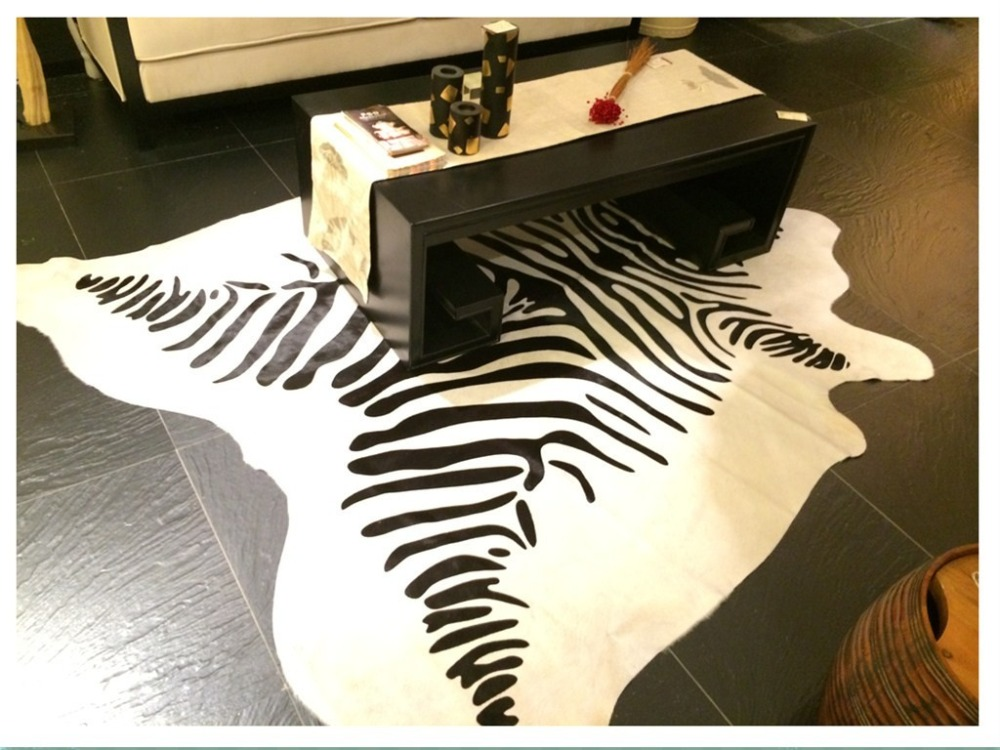 Superior Luxury One Pelt Natural Shape Cowhide Rug 190*200cm , Modern Natrual  Zebra Stripe