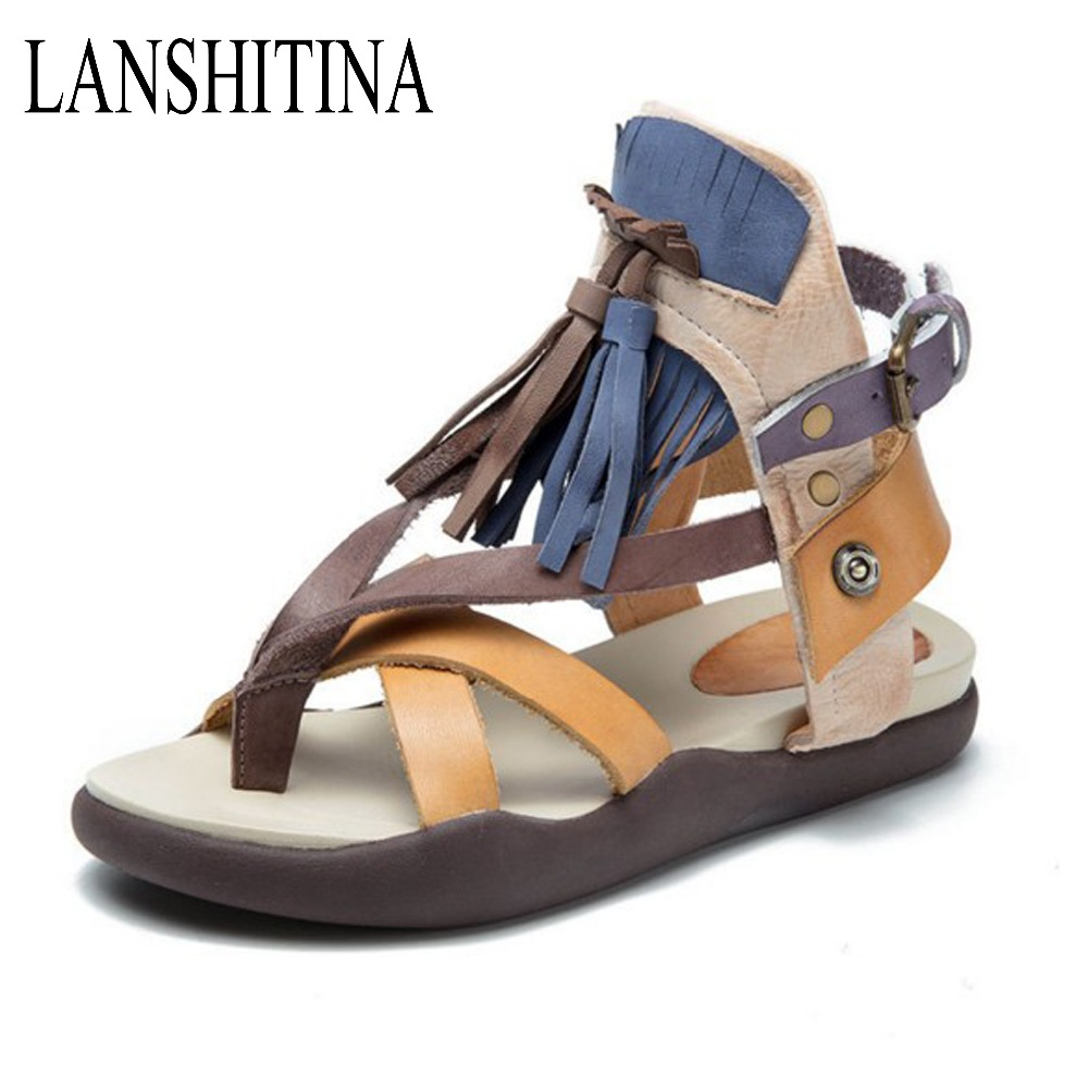 Mother Shoes New Fashion Woman Summer Female Genuine Leather Women Beach Gladitor Wedges Open Toe Sandal Buckle Strap Flat With  2017 newest summer black brown leather sandal for woman sexy open toe flat crystal sandal sequins bead t strap buckle shoes