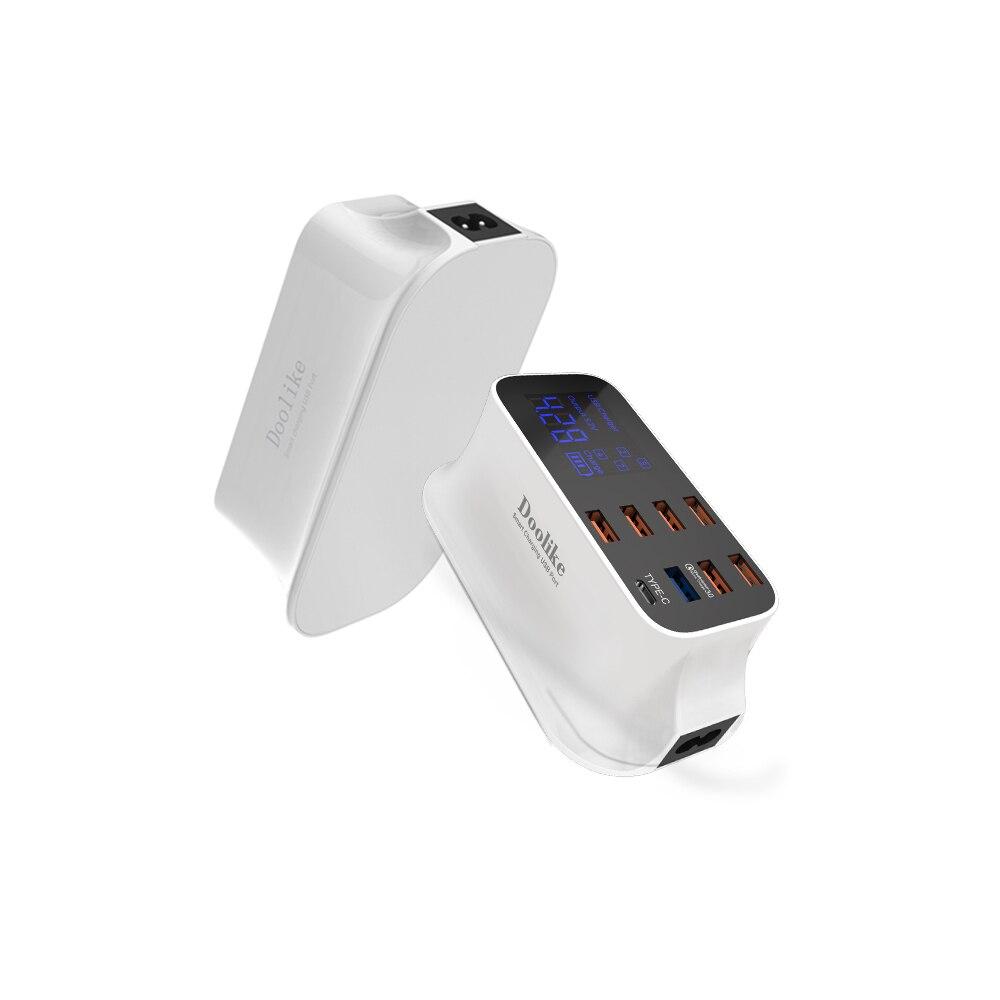 Doolike affichage numérique charge courant multi-port chargeur intelligent 7 USB LCD chargeur USB prise pour Samsung S8 pour iPhone X