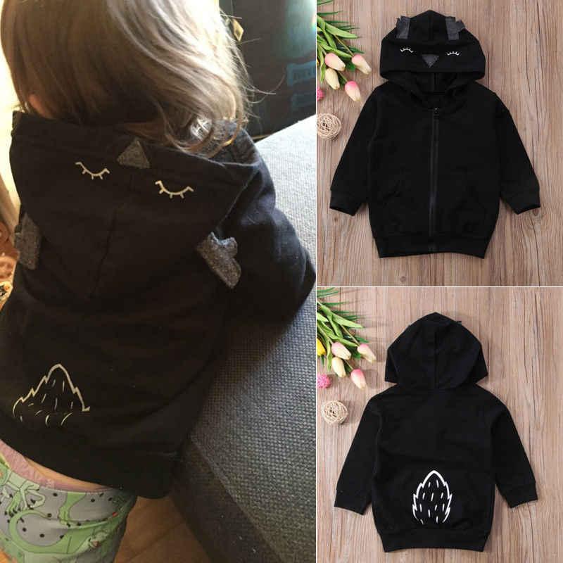 d54bc1519c5 ... 2018 New fashion Baby Kids Girls Winter warm Cartoon deer black Coat  Long Sleeve Spring lovely ...