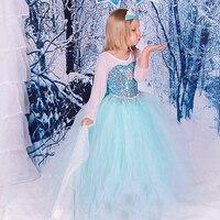 2017 NUEVA Primavera y el Verano Caliente de la venta Elsa Anna Chicas Lindas Vestido de fiesta de la Nieve Romance Snow Queen Princesa con Lentejuelas Vestido