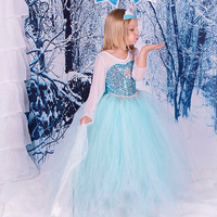 2018 NIEUWE Lente en Zomer Hot koop Elsa Anna Leuke Meisjes Feestjurk Sneeuw Romantiek Prinses met de Pailletten Sneeuw Koningin Jurk