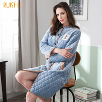 J&Q New Winter Robe Women Velvet Cotton Padded Female Robe Good Quality Brand Bath Robe Plus Size Thick Women Nightwear Bathrobe