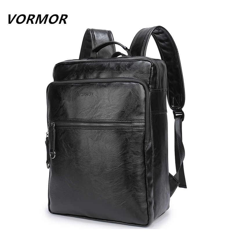 2018 VORMOR бренд водостойкий 15,6 дюймов ноутбук рюкзак мужские pu кожаные  рюкзаки для подростка 5fb950addfd