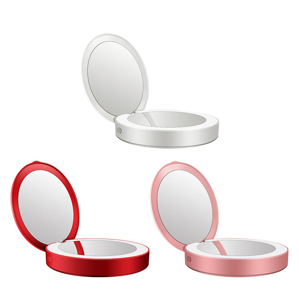 Portable Folding LED Makeup Mirror Light 3000mA Backup USB Charger Gift For Women DC 5V 1A Night Lighting